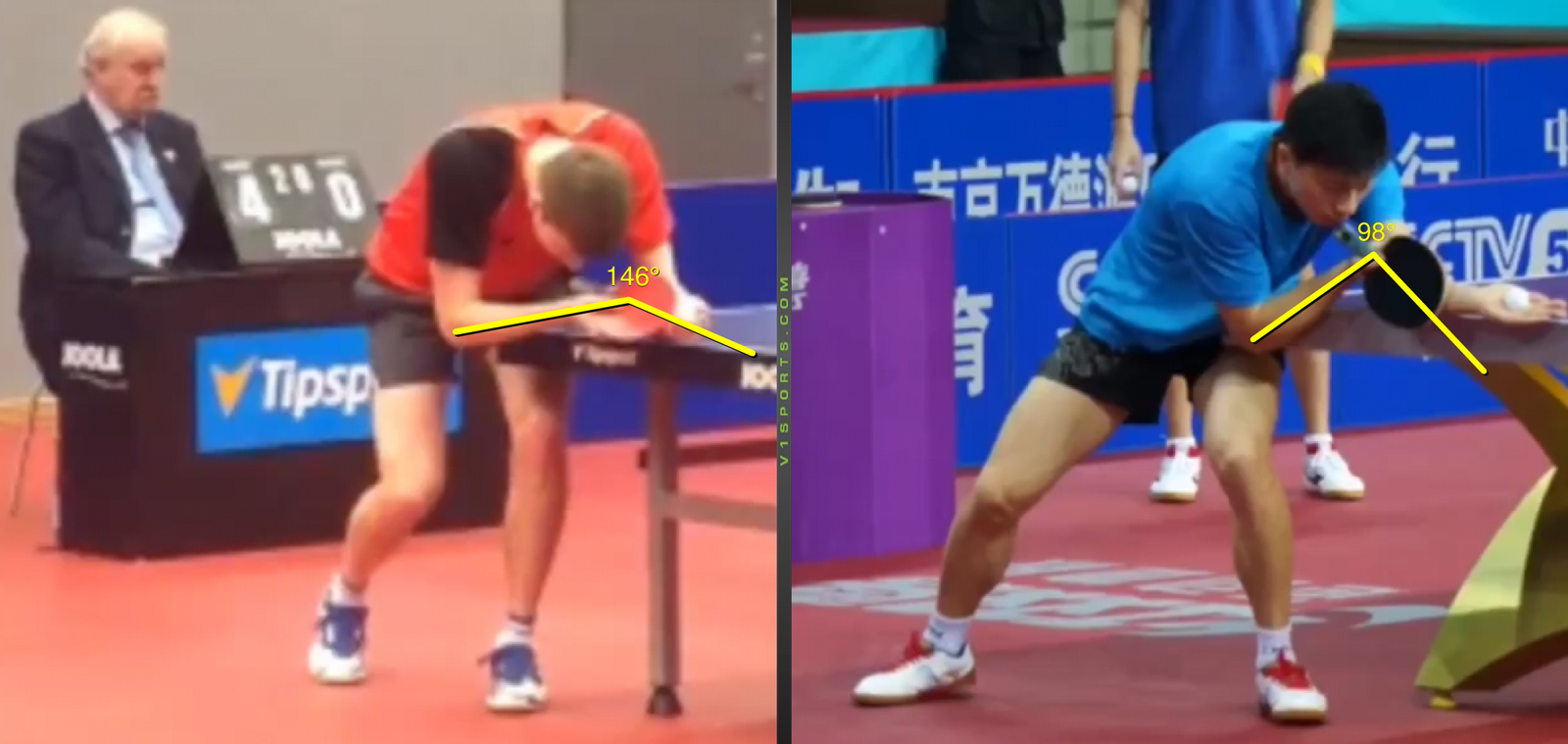 Serve Analysis, Basic Position, Bat Position – D. Reitšpies vs Ma Long